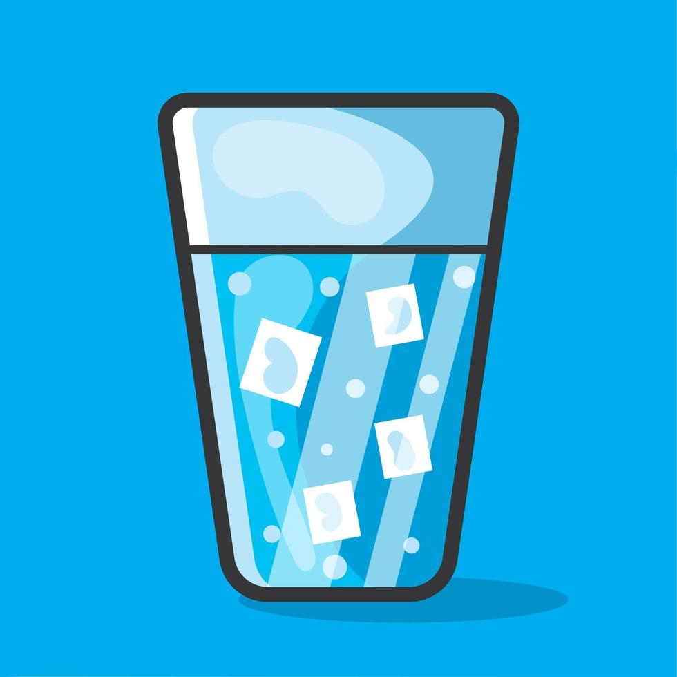 ice water on the glass illustration in flat style vector