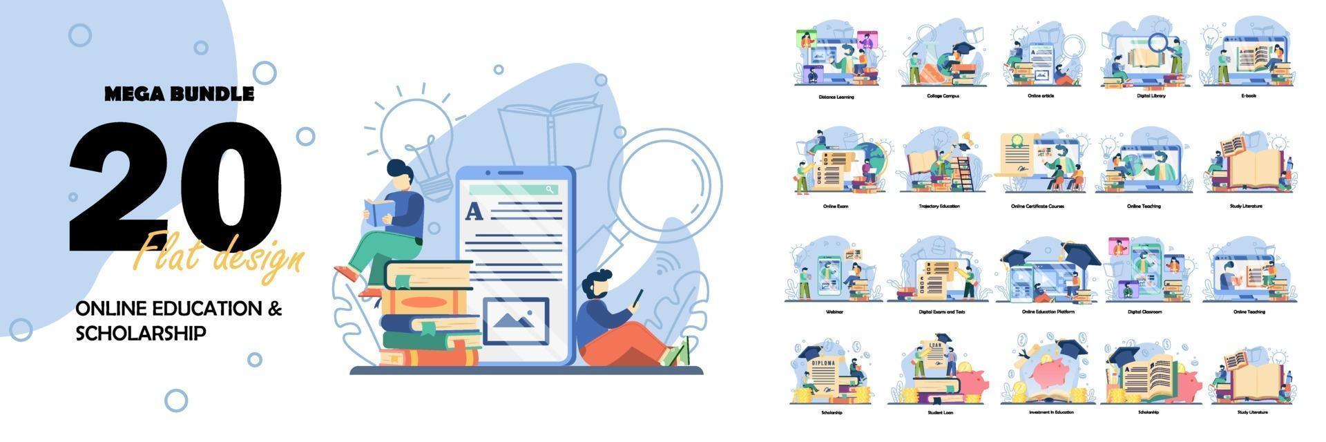 Big Set Education vector illustration. Online education, scholarship, back to school, Online Book, Webinar, Online Class, Achievement trophy.flat design style vector graphic illustration set