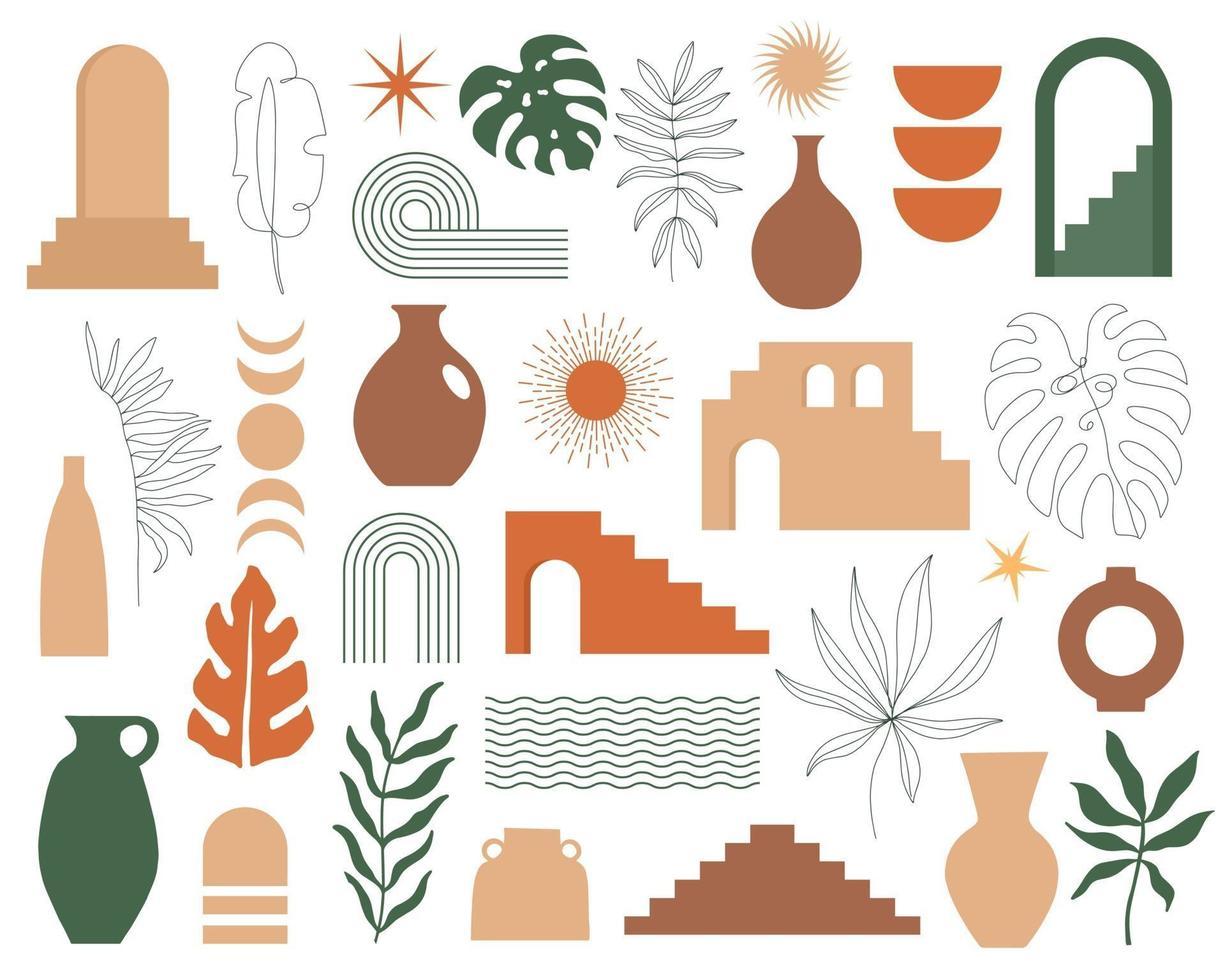 moderno conjunto contemporáneo de arquitectura de geometría estética, escaleras marroquíes, muros, arcos, arcos, jarrones, hojas. carteles vectoriales para decoración de paredes en estilo vintage vector