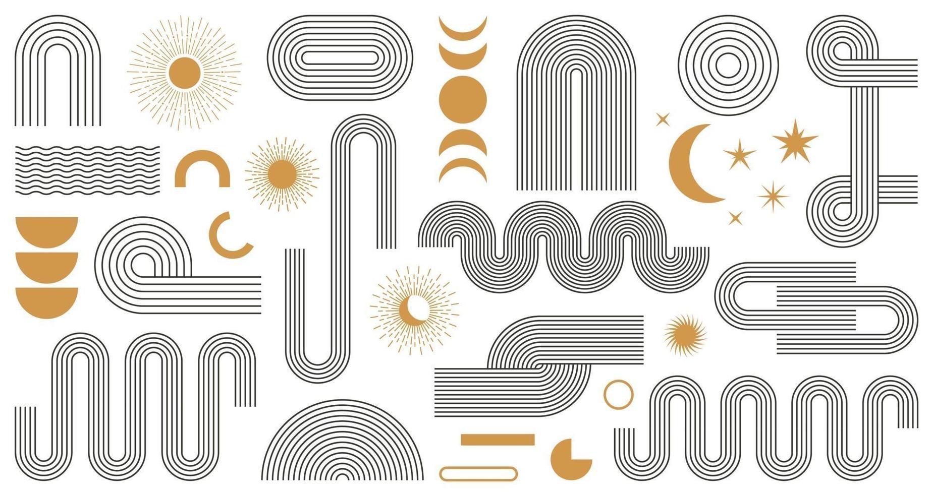 Conjunto de formas geométricas estéticas boho abstracto. Diseño contemporáneo de líneas de mediados de siglo con fases de sol y luna, estilo bohemio de moda. ilustración vectorial moderna vector