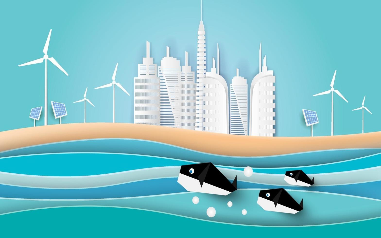 Whales swim in the sea with Buildings on the beach. Paper art style. vector