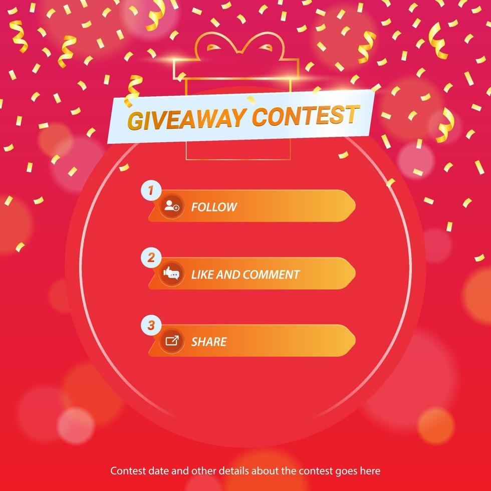 Giveaway Template for Social Media with steps vector