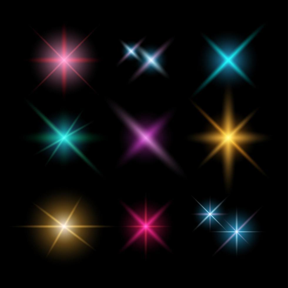 destellos de lente y efectos de iluminación, ilustración vectorial vector