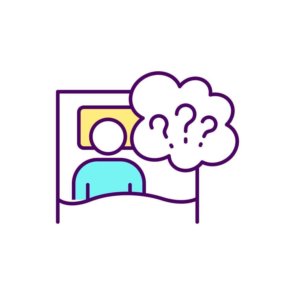 problemas de sueño icono de color rgb vector
