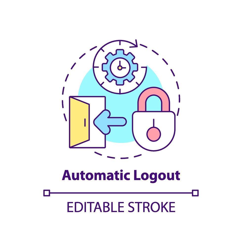 icono de concepto de cierre de sesión automático vector