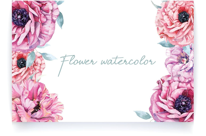 Watercolor wedding invitation design with flower 4 vector