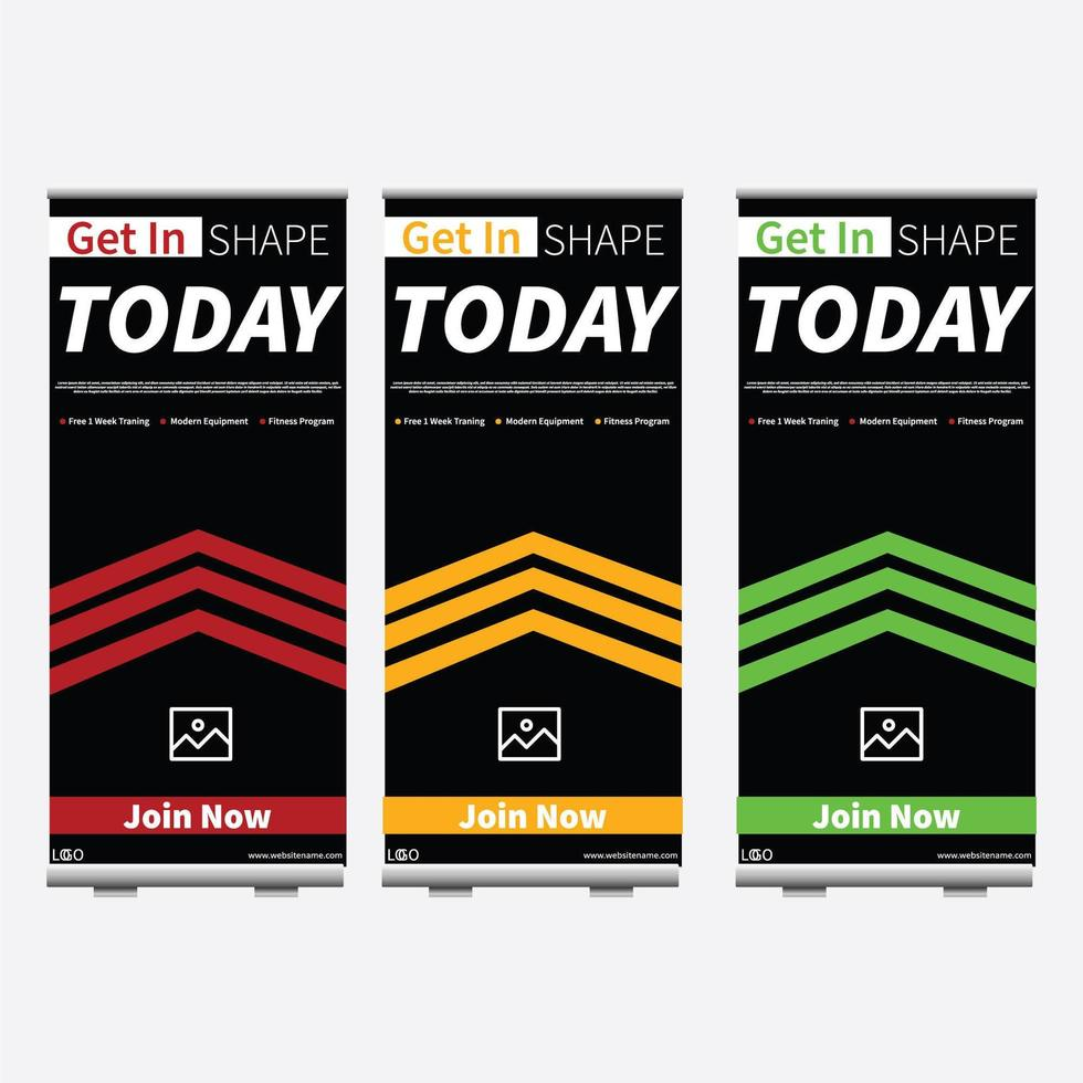 3 color variation Fitness Roll up banner for your business vector