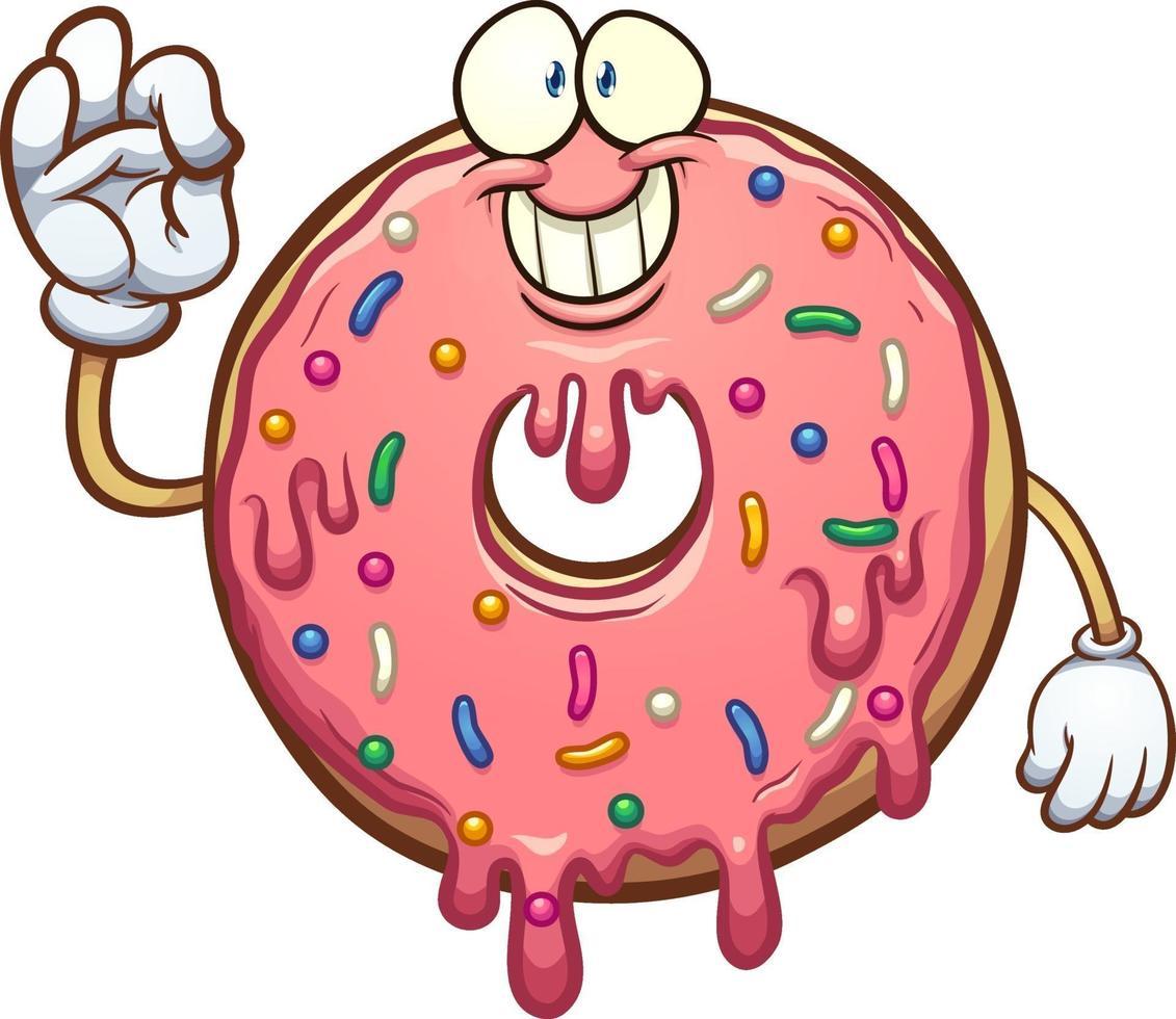 Cartoon pink donut vector