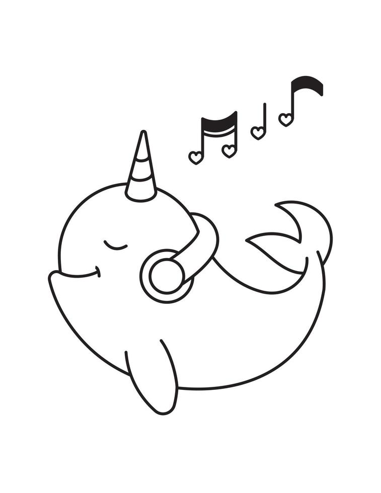 Narwhal Coloring Page For Kids 2128372 Vector Art At Vecteezy