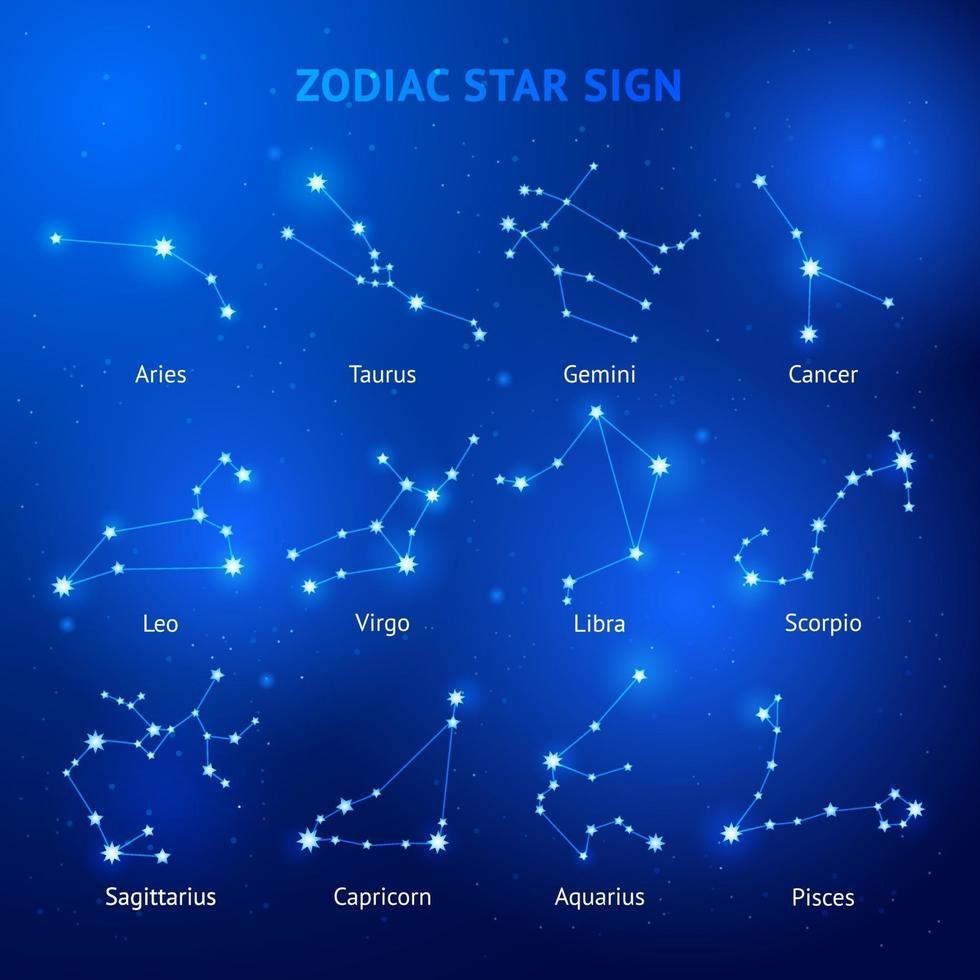 horóscopo del zodíaco signos de estrellas ilustraciones vectoriales. vector