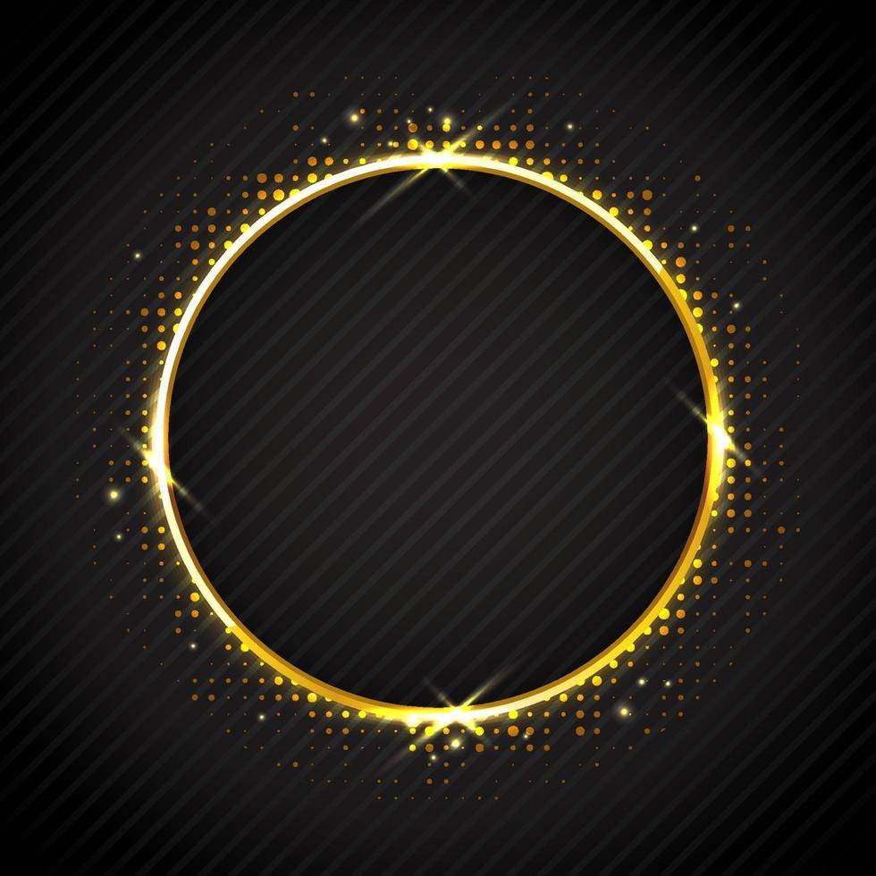 anillo dorado brillante sobre fondo negro vector