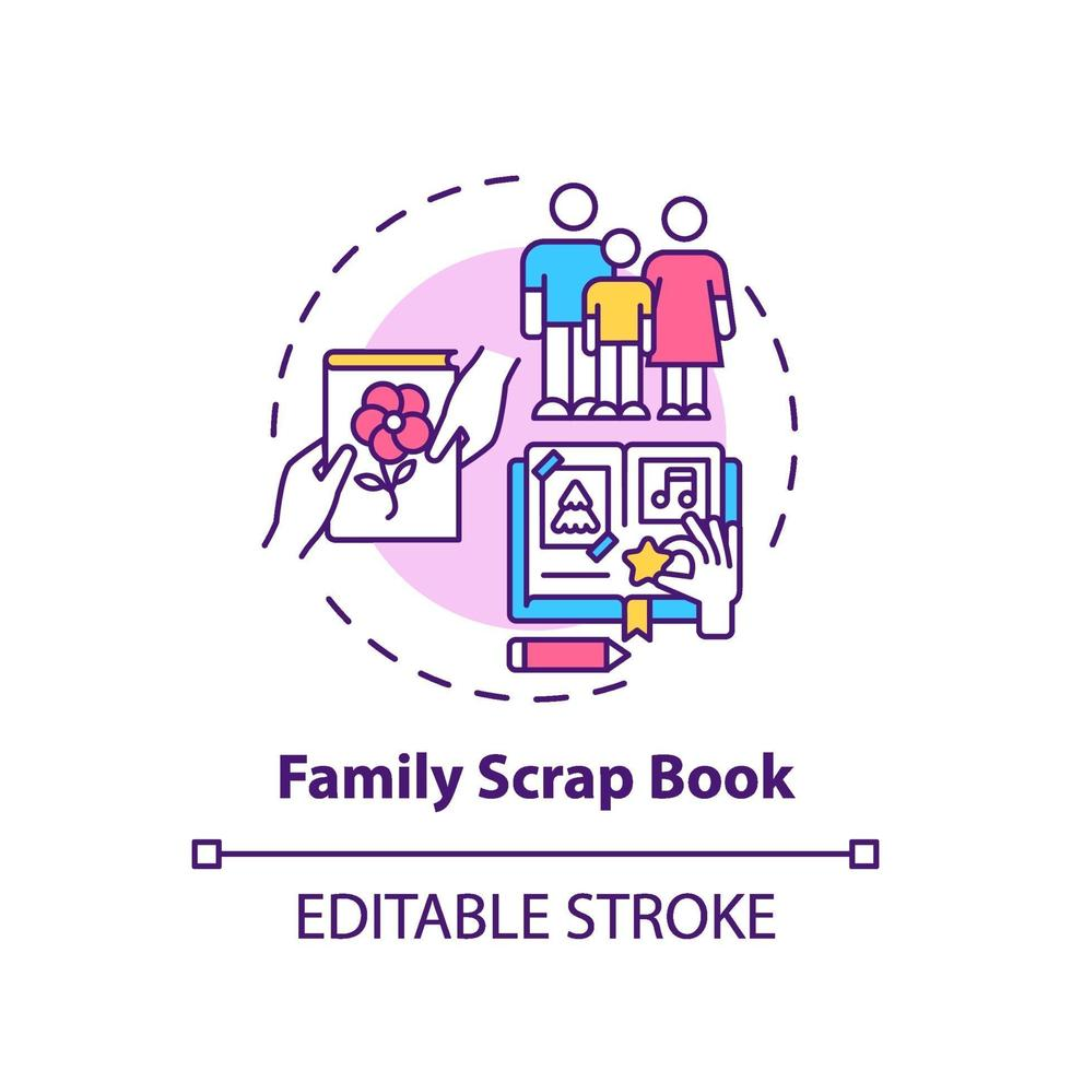 icono de concepto de libro de chatarra familiar vector