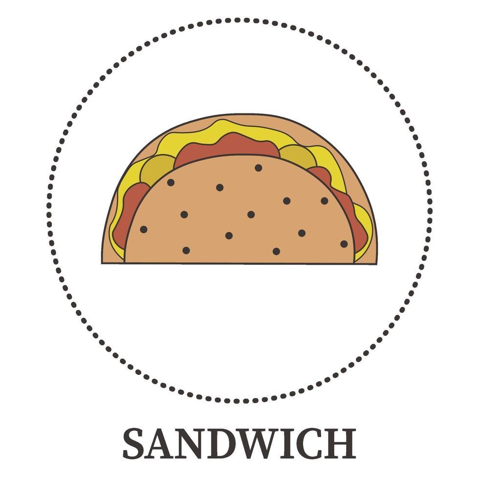 sándwich grande abstracto, pita sobre fondo blanco - vector