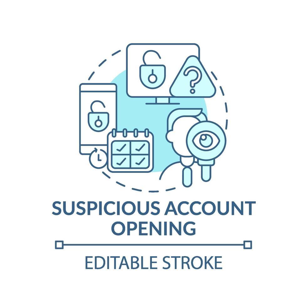 icono de concepto de apertura de cuenta sospechosa vector