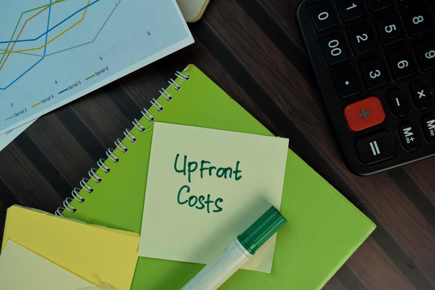 Los costos iniciales escritos en una nota adhesiva aislado en la mesa de madera foto