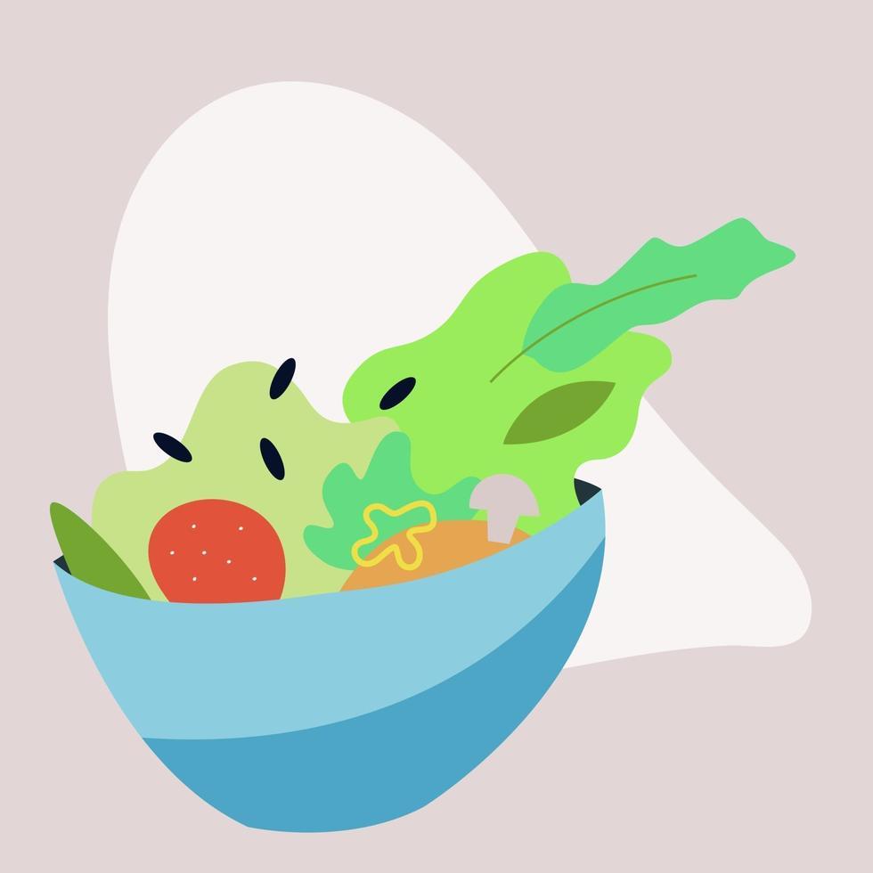 plato grande de ensalada saludable vector