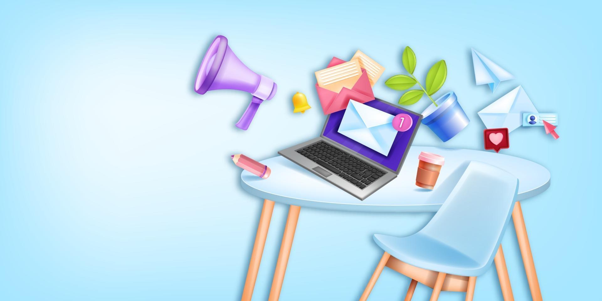 Email business online marketing vector background, office workplace, furniture laptop screen, megaphone. Digital network social media concept, banner. Email web marketing freelance design illustration