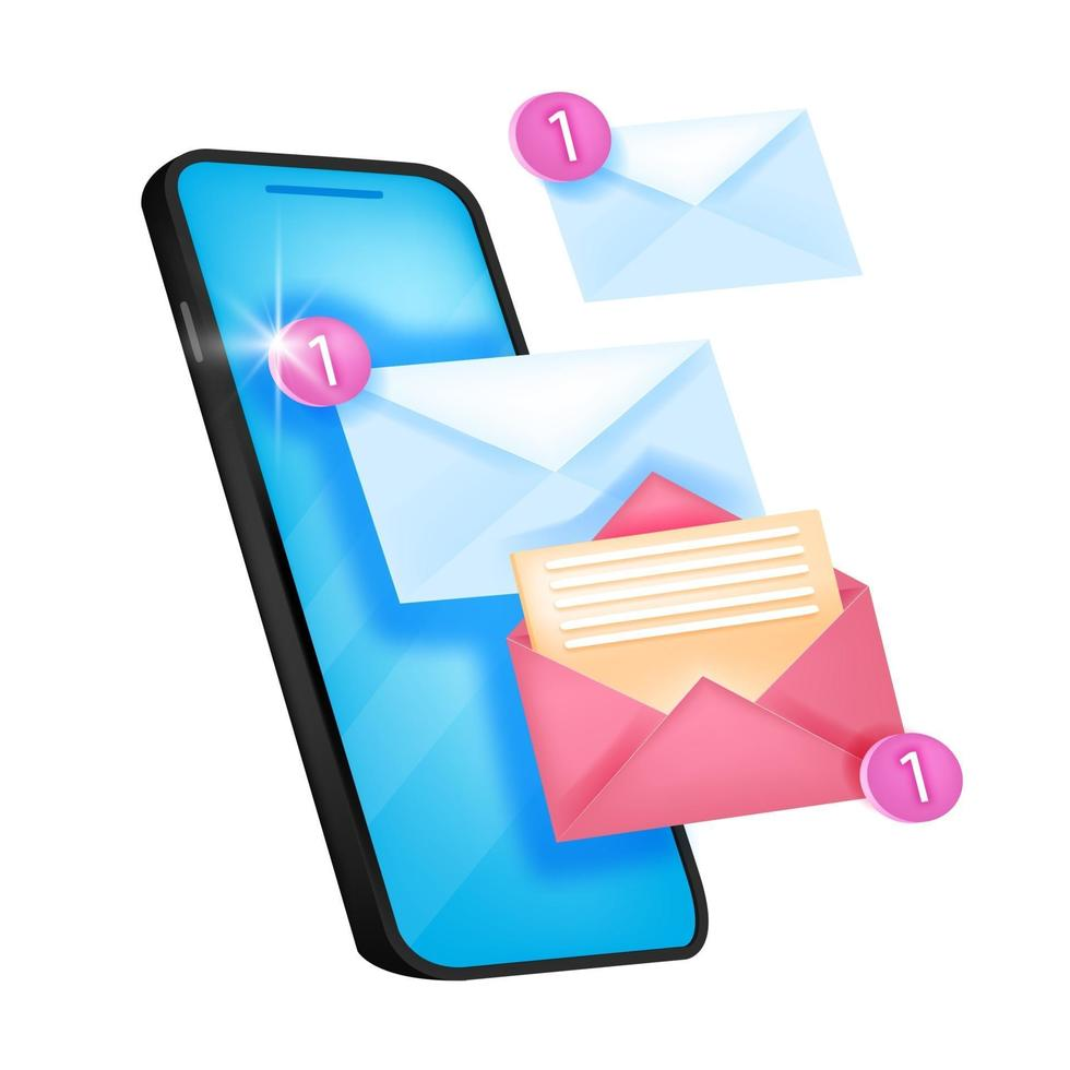 Vector new message notification icon, email alert, chat notice illustration with smartphone screen. Isolated mobile reminder web concept, envelopes, number one. Online message push notification logo
