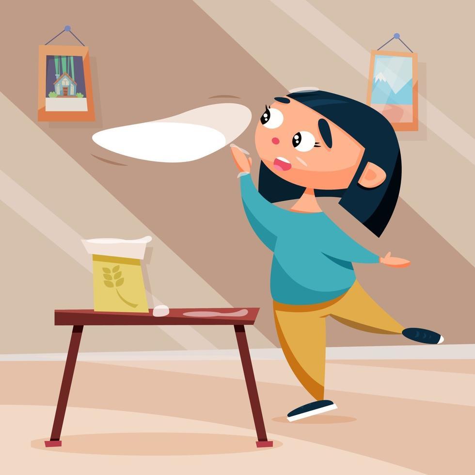 Funny girl preparing dough for cake, pie or cupcake vector