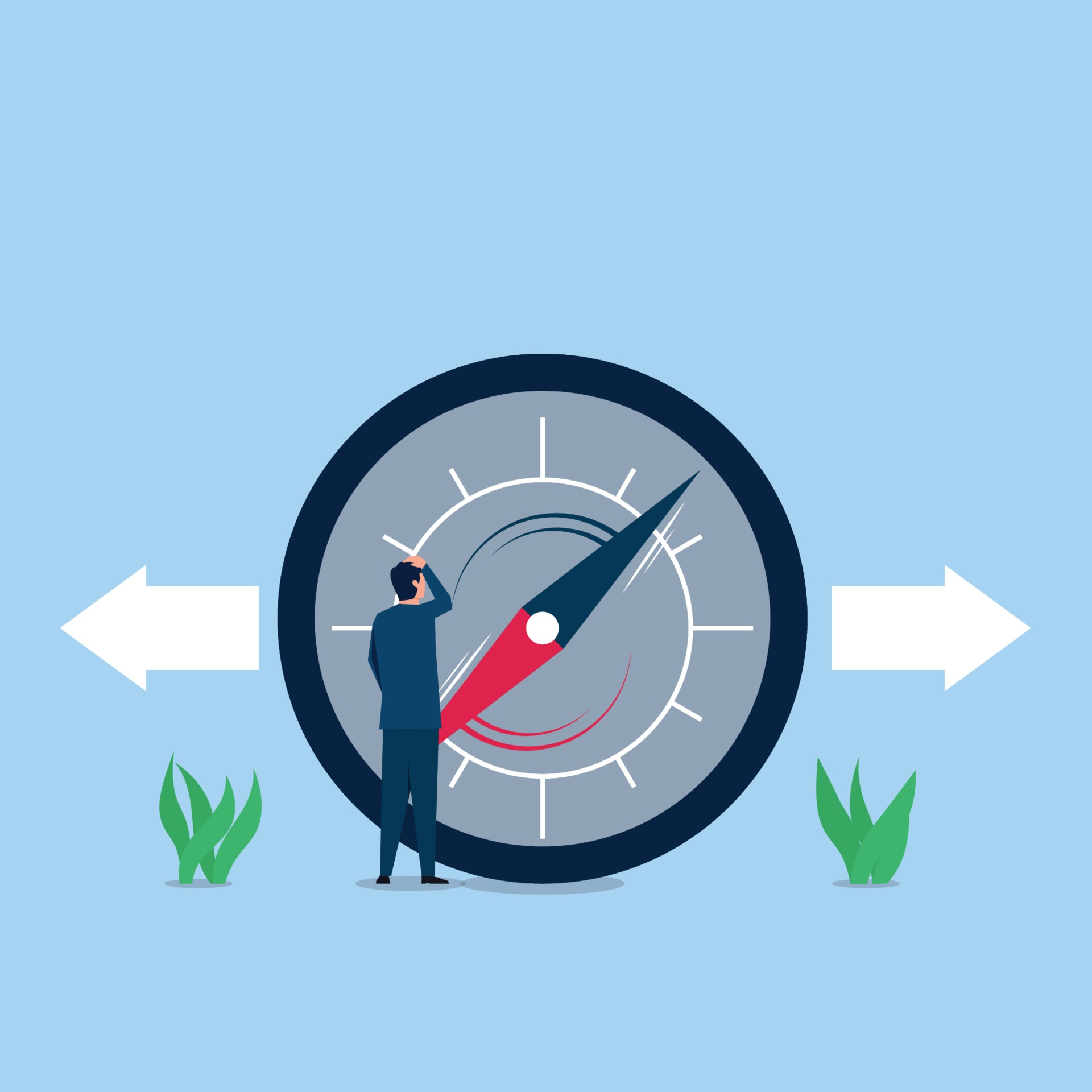 Business flat vector concept illustration. Businessman confused about compass  direction. 2130505 Vector Art at Vecteezy