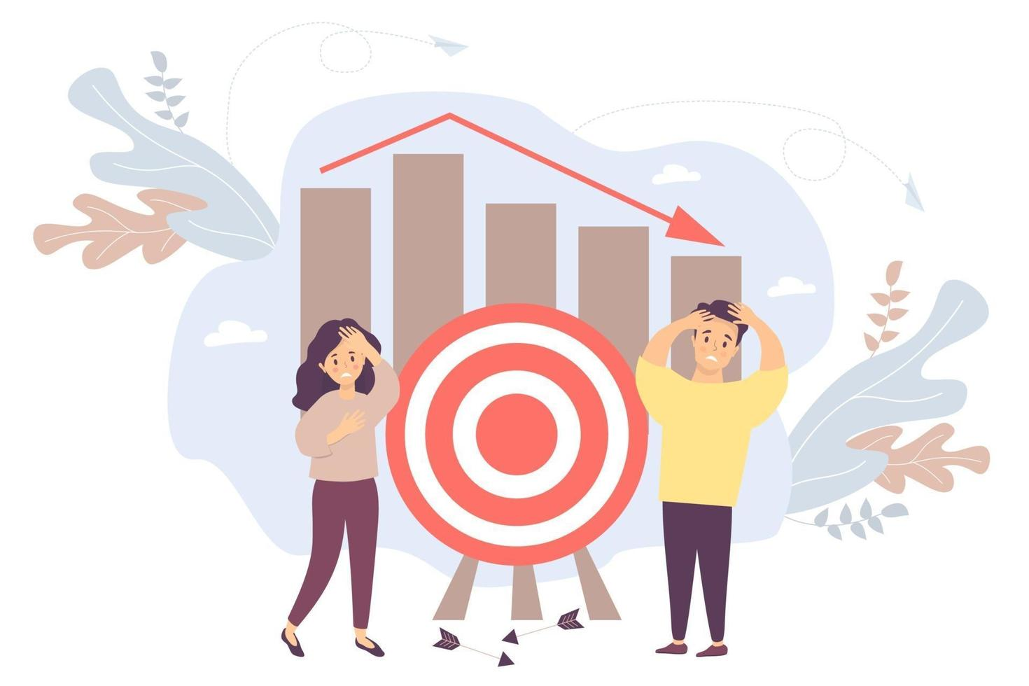 Vector. Man and a woman near a target with chart arrows falling. vector