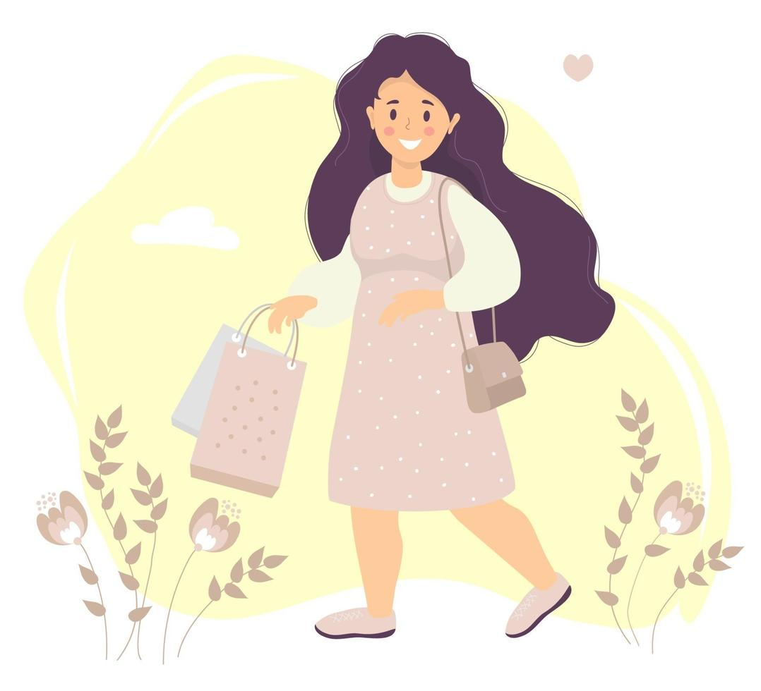 Shopping. Happy girl with long hair in a pink dress smiles in her hand holds paper bags. Decorative background with flowers and leaves, Clouds and hearts. Vector illustration. flat illustration