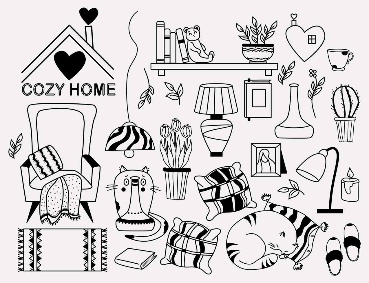 Cozy home. set of doodles - a cat looking out from behind a vase, a cat sleeping on a pillow, a bookshelf and a teddy bear, an armchair with a blanket, flowerpots, lamp and cookies. Vector, outline vector
