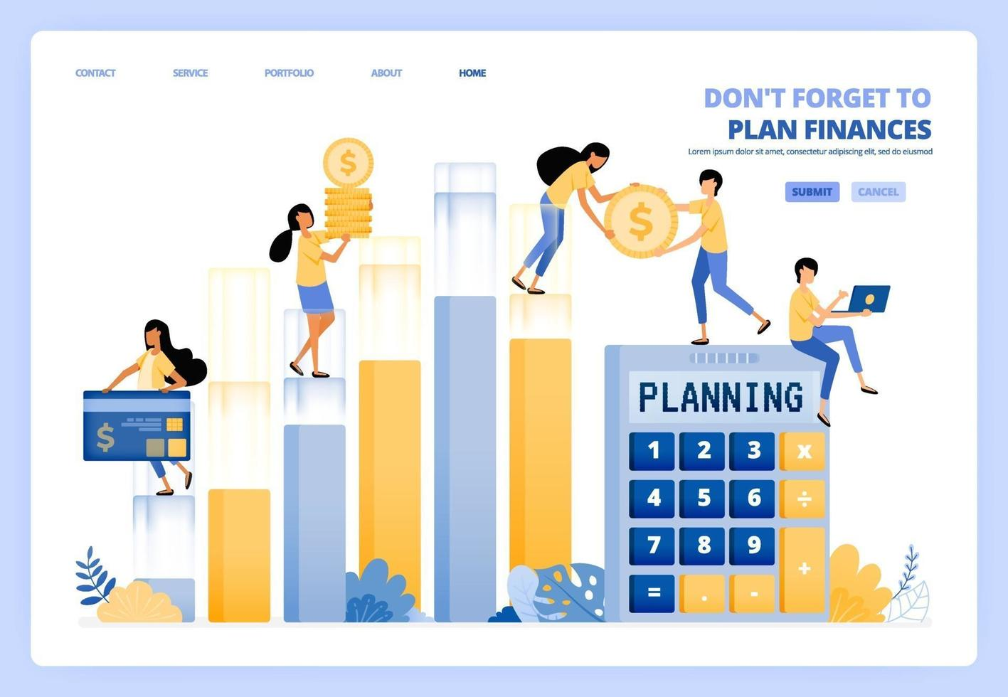 planning personal and company financial management. finance accounting. vector illustration concept can be use for landing page, template, ui ux, web, mobile app, poster ads, banner, website, flyer