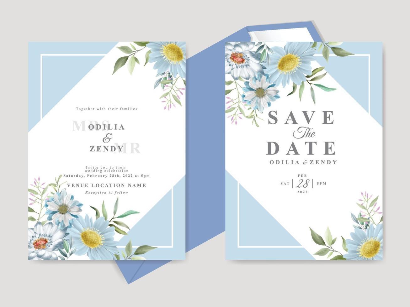 hermosa plantilla de tarjeta de invitación de boda con flores dibujadas a mano vector