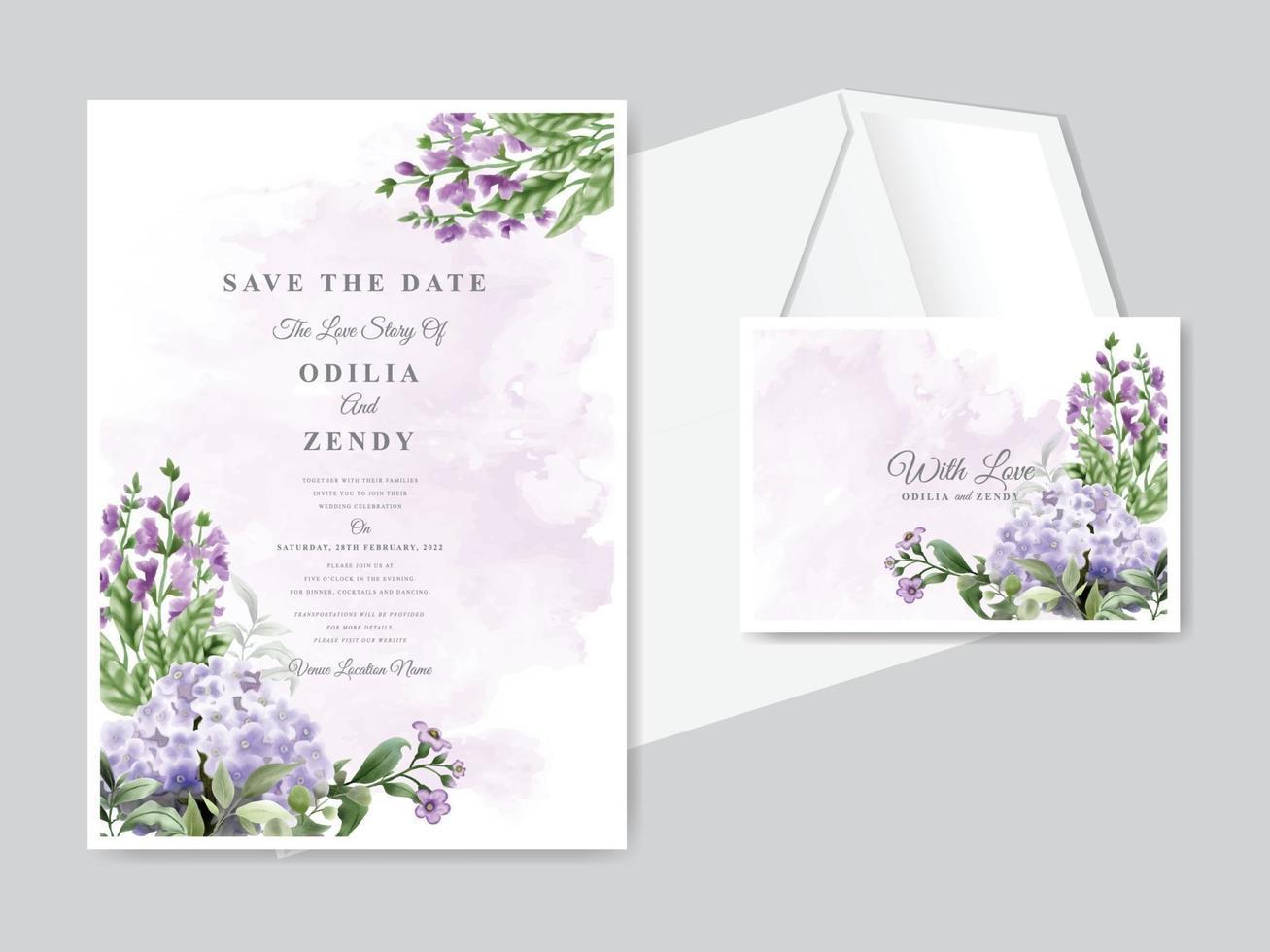 Beautiful floral hand drawn wedding invitation card template set vector