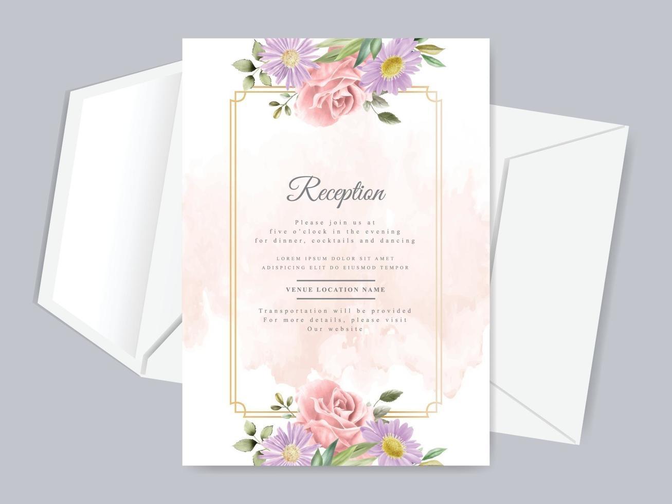 Beautiful floral hand drawn wedding invitation reception card template vector