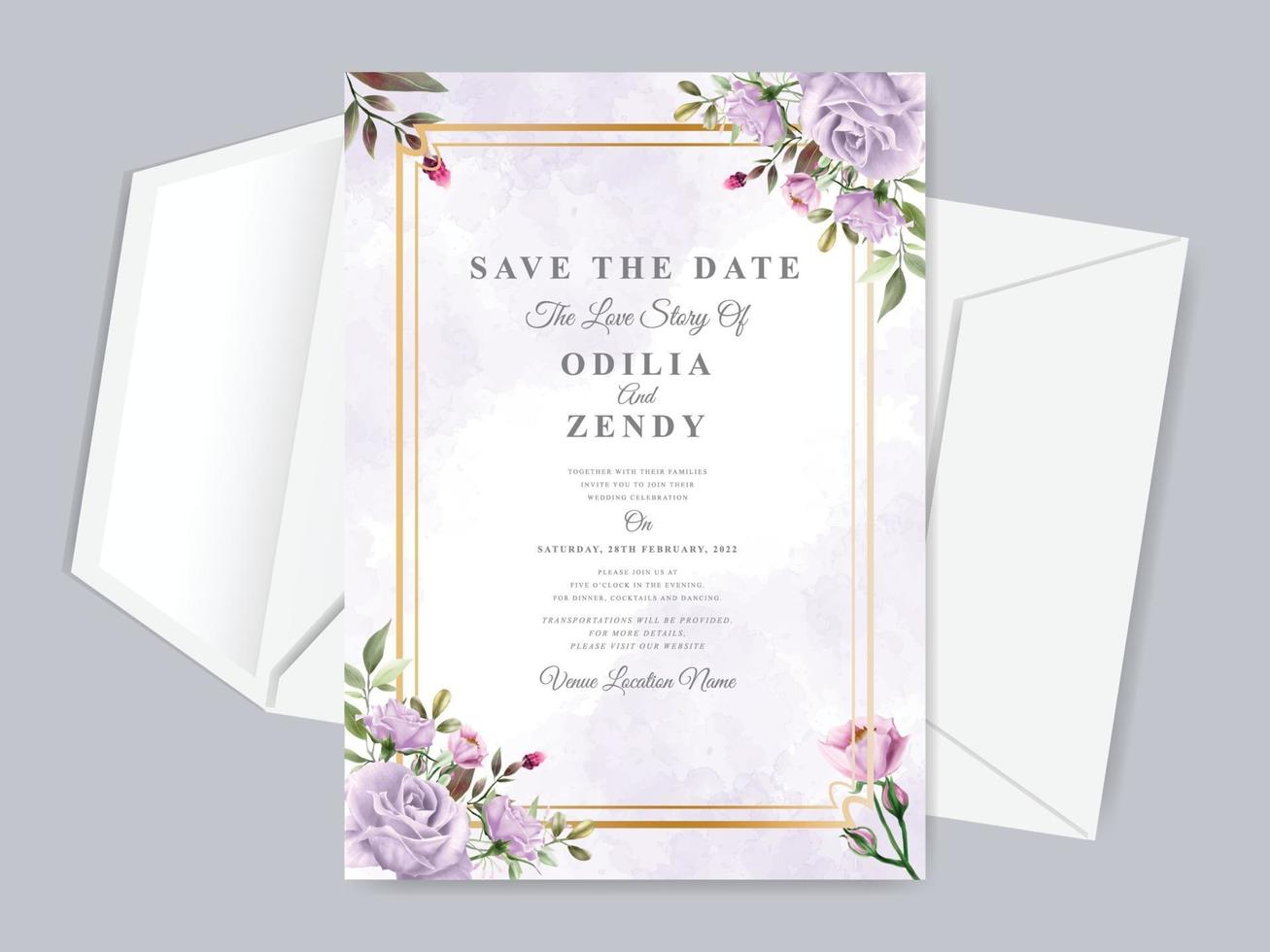 Wedding invitation save the date card template vector
