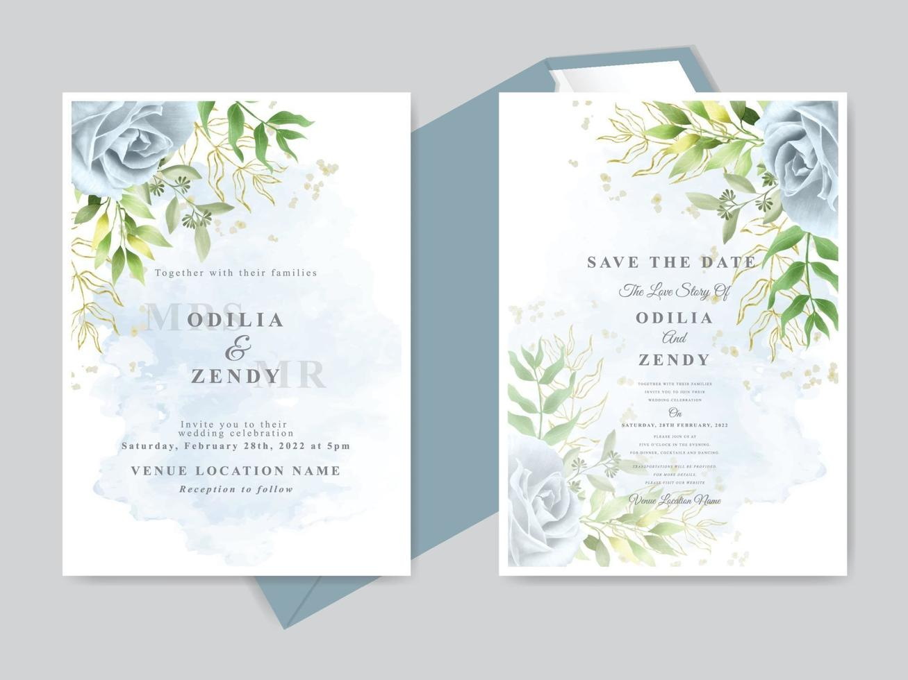 Wedding invitation card template set vector