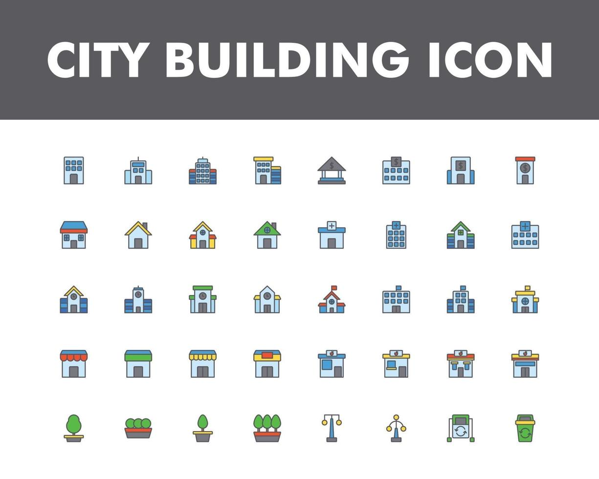 City building icon set isolated on white background vector