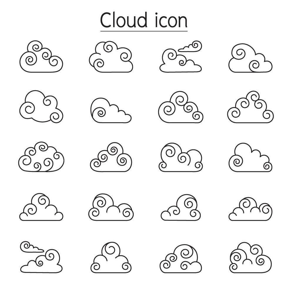 iconos de vector de nube de rizo en estilo de línea fina