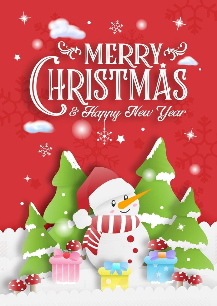 tarjeta de invitación de feliz navidad roja con caja de regalo de muñeco de nieve y fondo de árbol vector