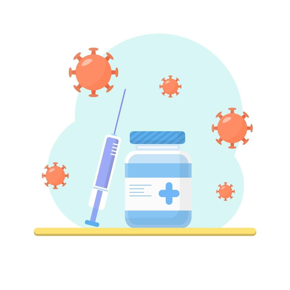 Equipos médicos, medicamentos antivirales y vacunas en la mesa. vector