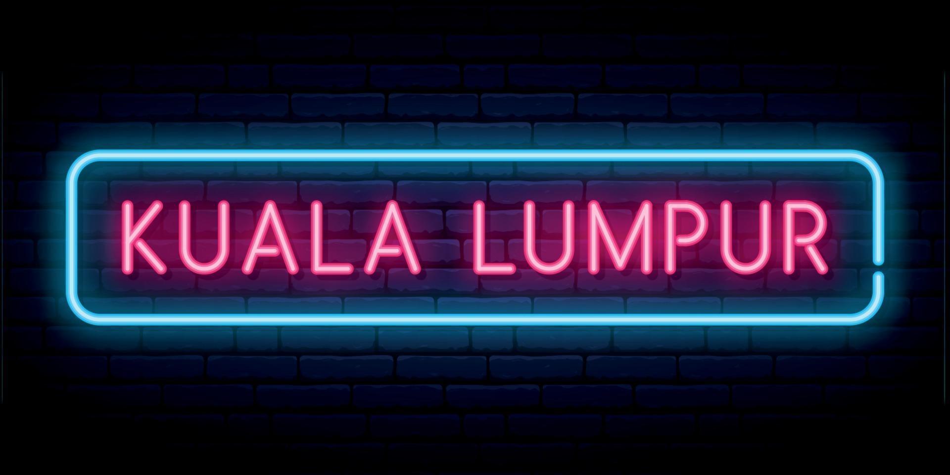Kuala Lumpur neon sign. vector