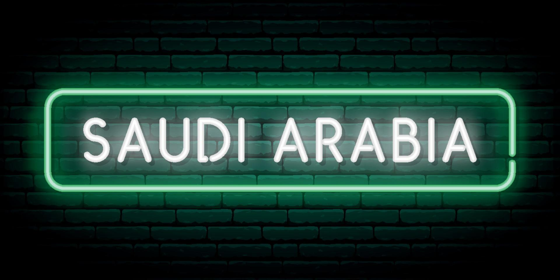 Saudi Arabia neon sign. Bright light signboard. vector