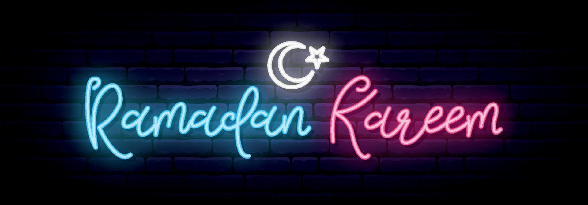 Ramadan Kareem neon sign banner. White crescent, star sign and neon lettering. vector