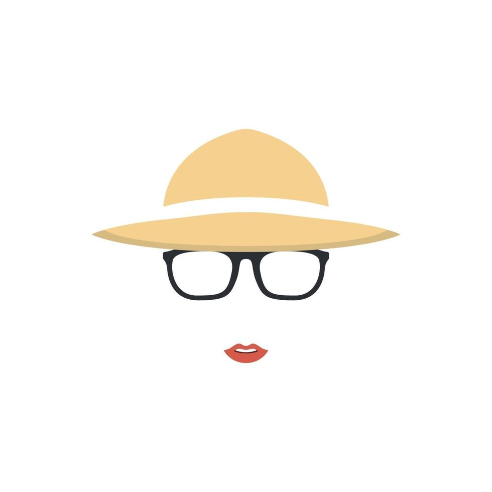 Portrait of farmer girl in hat and glasses. Farmer icon. vector