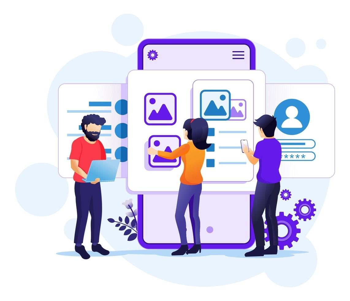 Creating an application design concept, people and content text place, UI UX design illustration vector