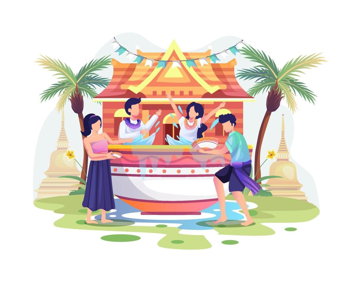 People celebrate the Songkran festival Thailand Traditional New Year's Day by splashing water from bowls vector
