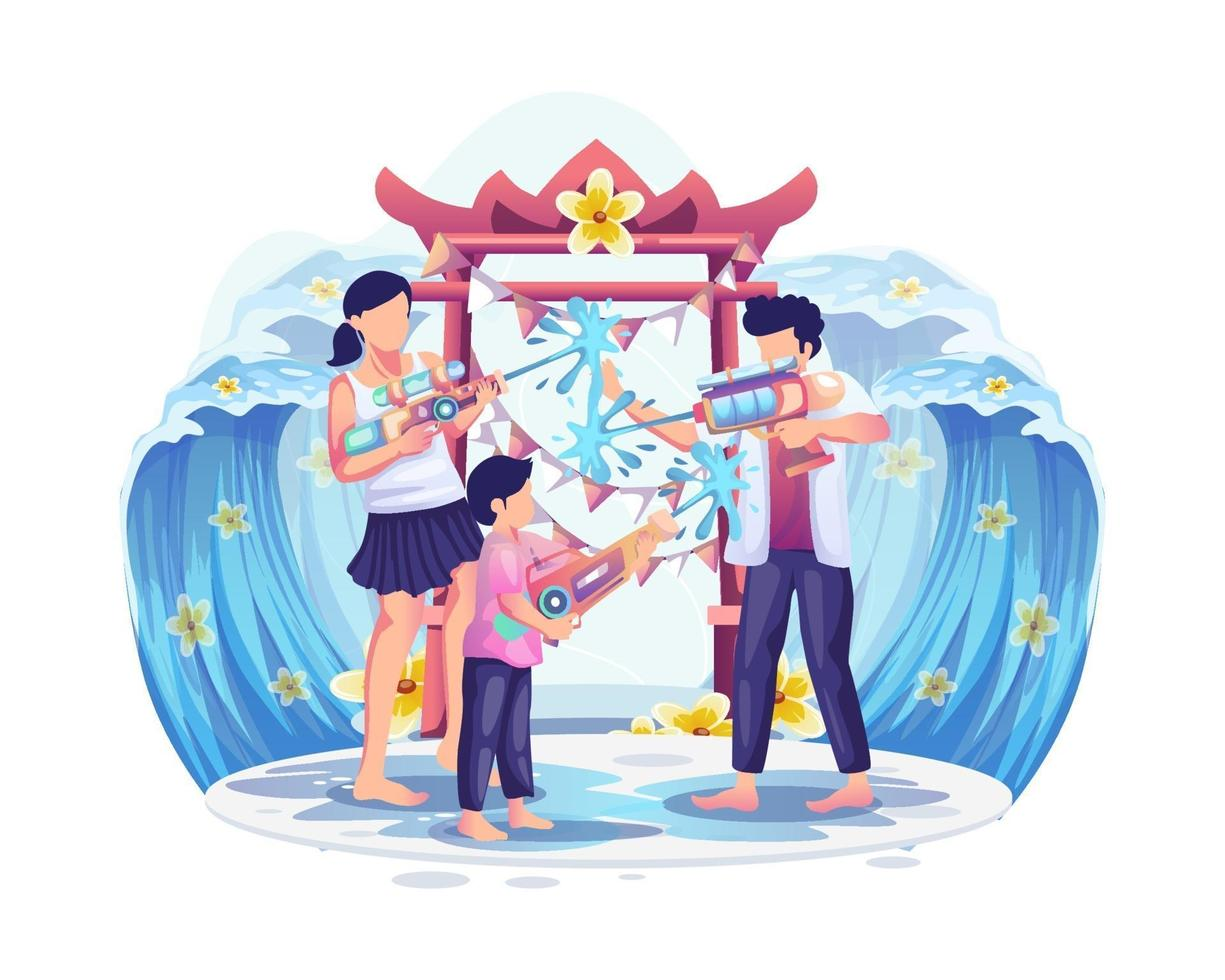 People playing water gun in Songkran festival, Thailand Traditional New Year's Day vector