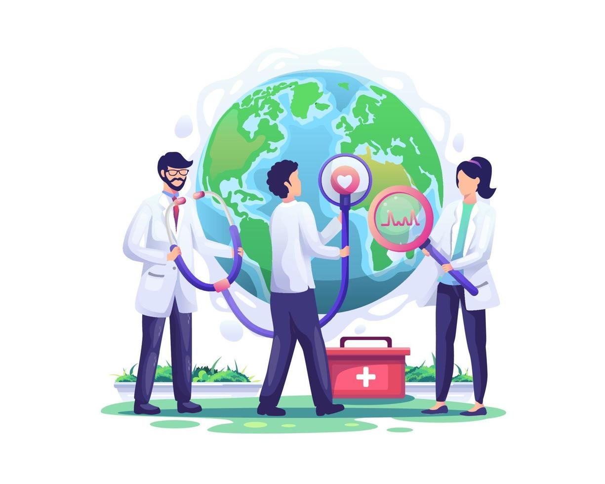 Doctors check the health world globe with a stethoscope in the order of world health day vector