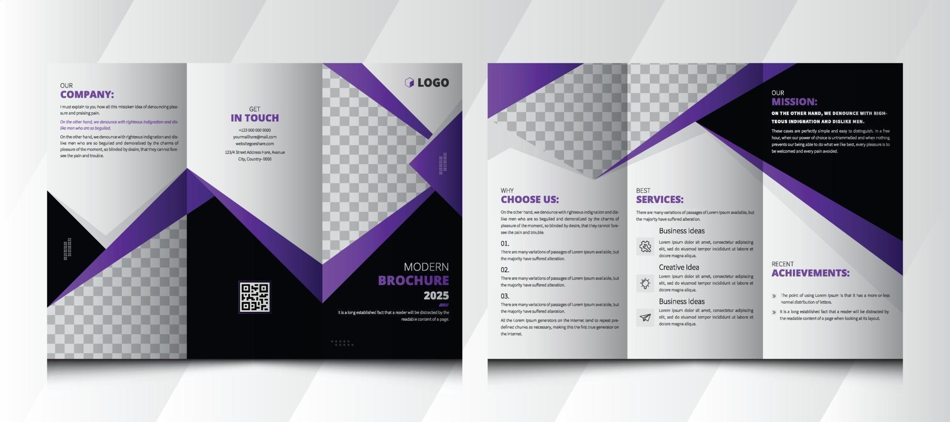 Modern Trifold Business abstract vector template. Brochure design, brochure template, creative tri-fold, trend brochure