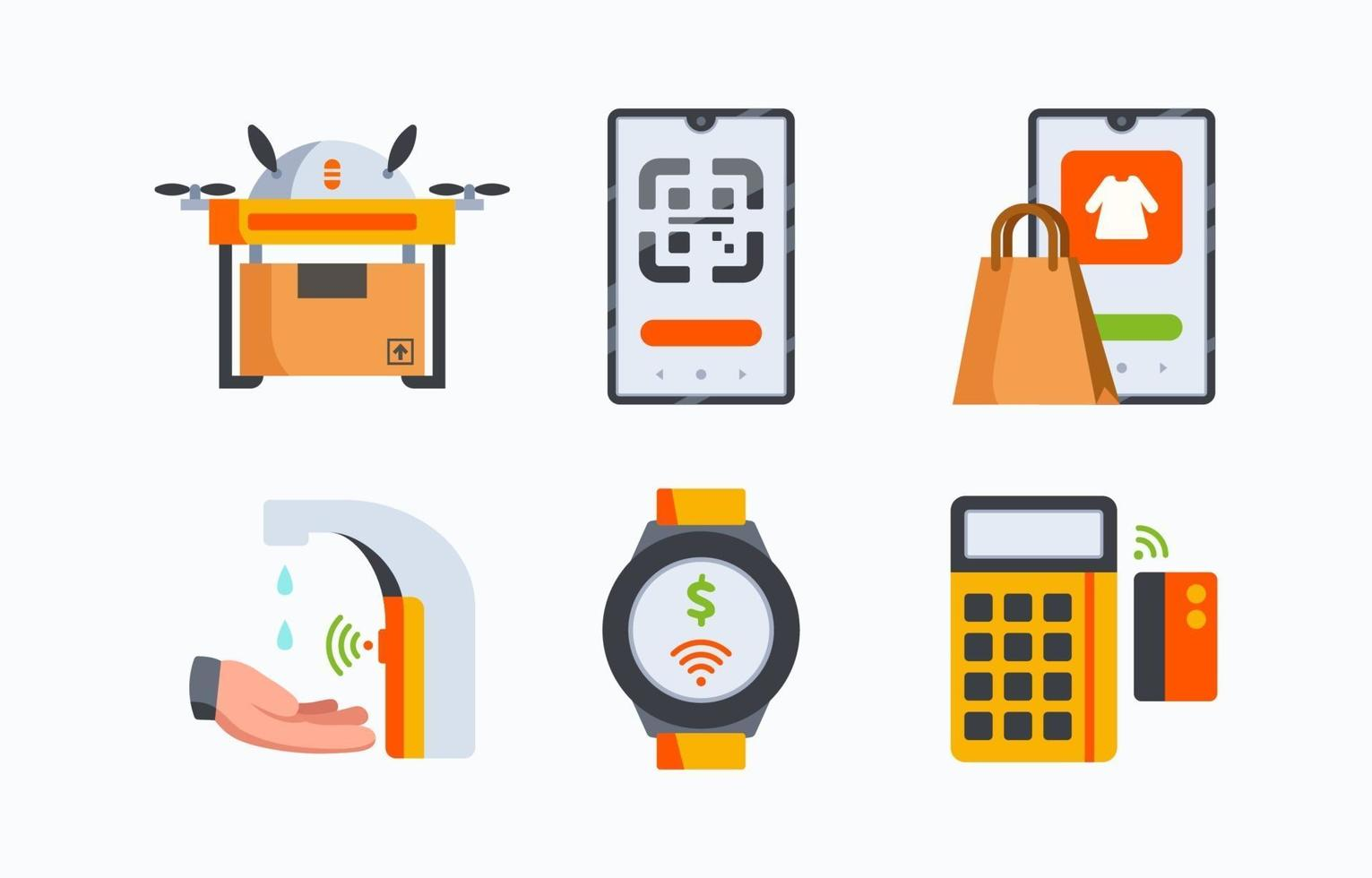 Supporting Technology in New Normal Protocol Icons vector