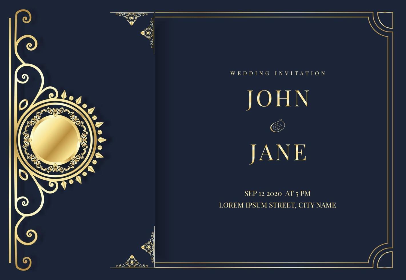 luxury blue and golden wedding invitation vector