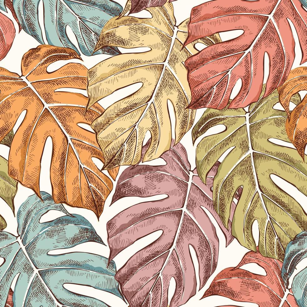 hojas de monstera dibujado a mano retro de patrones sin fisuras vector