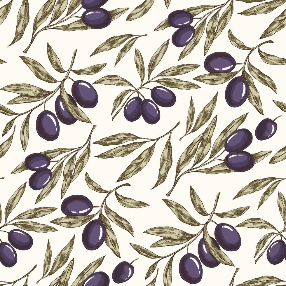 Olive plant seamless pattern vector